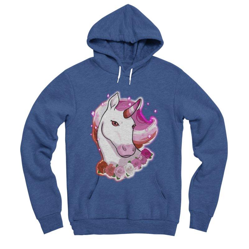 Lesbian pride unicorn Men's Sponge Fleece Pullover Hoody by Animegravy's Artist Shop