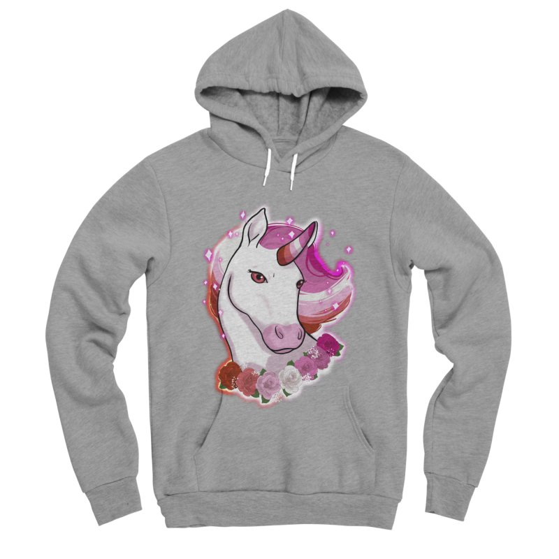 Lesbian pride unicorn Men's Sponge Fleece Pullover Hoody by AnimeGravy