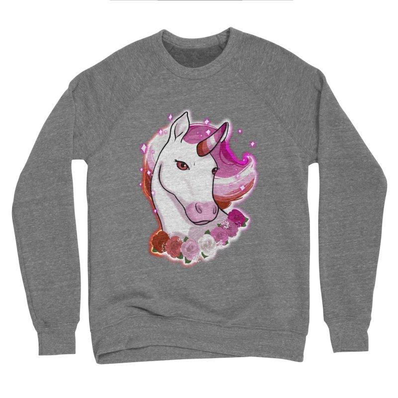 Lesbian pride unicorn Men's Sponge Fleece Sweatshirt by Animegravy's Artist Shop