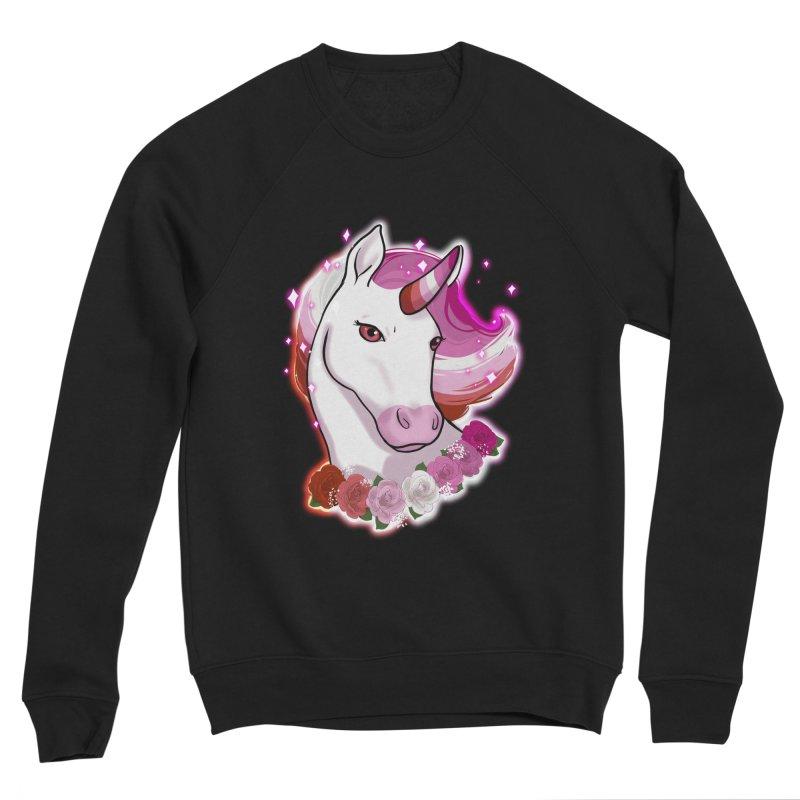 Lesbian pride unicorn Men's Sponge Fleece Sweatshirt by AnimeGravy