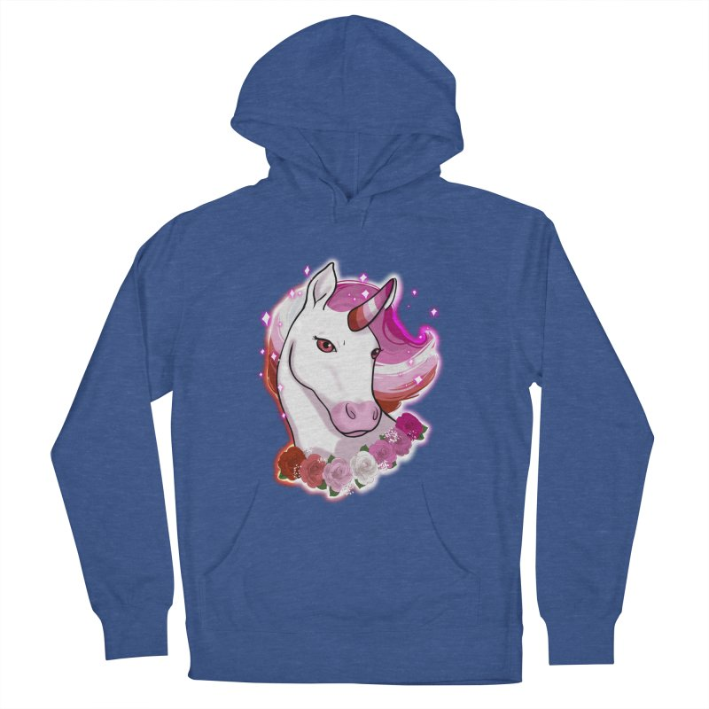 Lesbian pride unicorn Men's French Terry Pullover Hoody by AnimeGravy