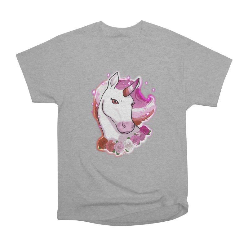 Lesbian pride unicorn Women's Heavyweight Unisex T-Shirt by Animegravy's Artist Shop