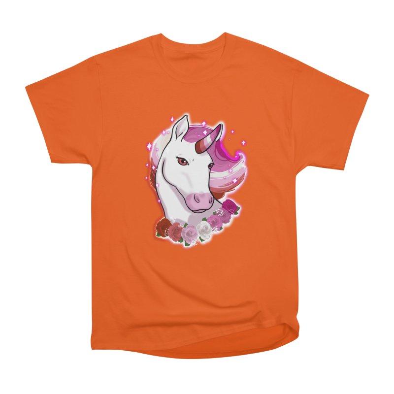 Lesbian pride unicorn Women's Heavyweight Unisex T-Shirt by AnimeGravy