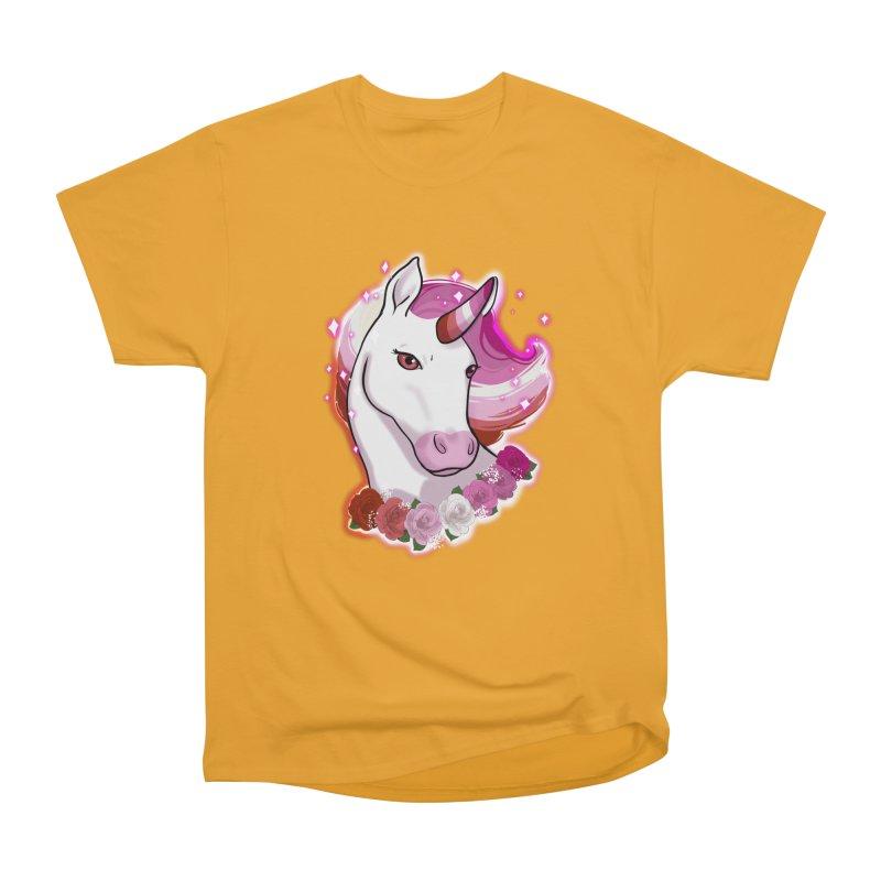 Lesbian pride unicorn Men's Heavyweight T-Shirt by Animegravy's Artist Shop