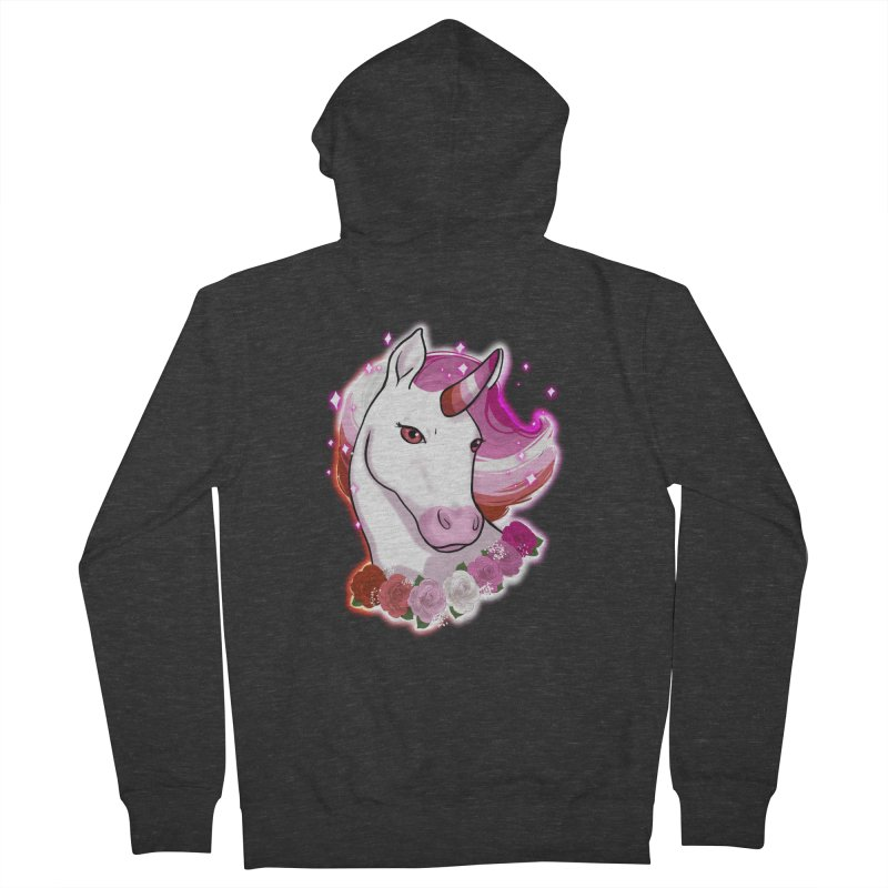 Lesbian pride unicorn Women's French Terry Zip-Up Hoody by Animegravy's Artist Shop