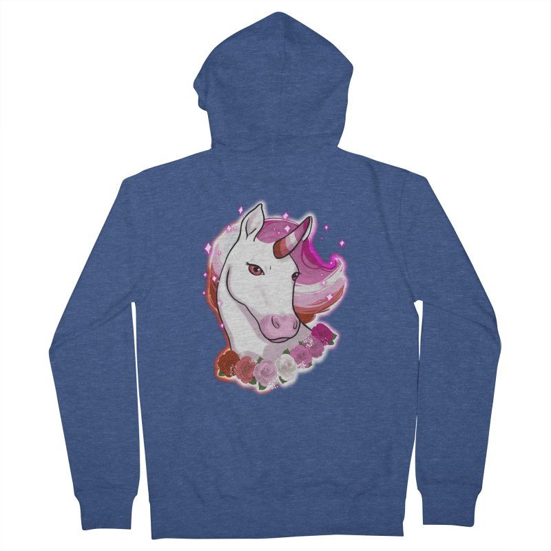 Lesbian pride unicorn Men's French Terry Zip-Up Hoody by Animegravy's Artist Shop