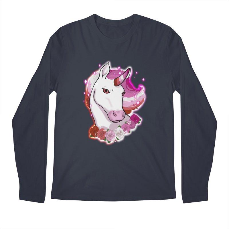 Lesbian pride unicorn Men's Regular Longsleeve T-Shirt by Animegravy's Artist Shop