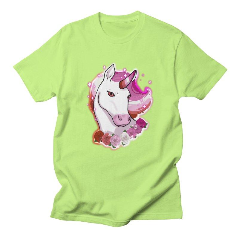 Lesbian pride unicorn Women's Regular Unisex T-Shirt by Animegravy's Artist Shop