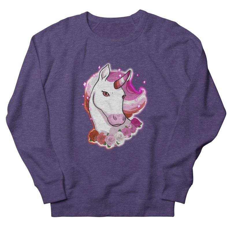 Lesbian pride unicorn Men's French Terry Sweatshirt by Animegravy's Artist Shop