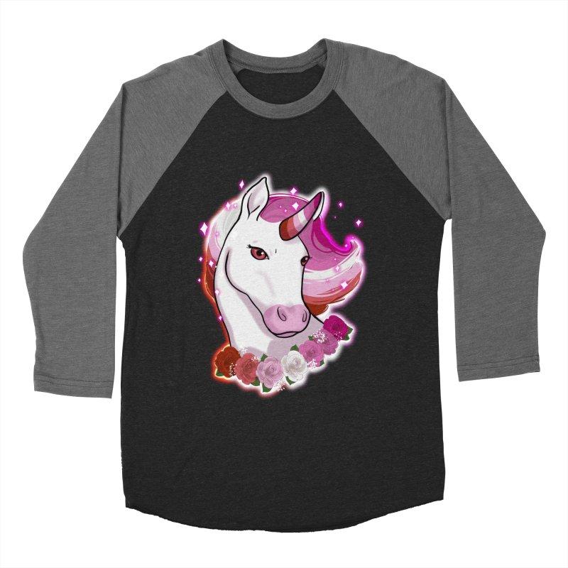 Lesbian pride unicorn Men's Baseball Triblend Longsleeve T-Shirt by Animegravy's Artist Shop