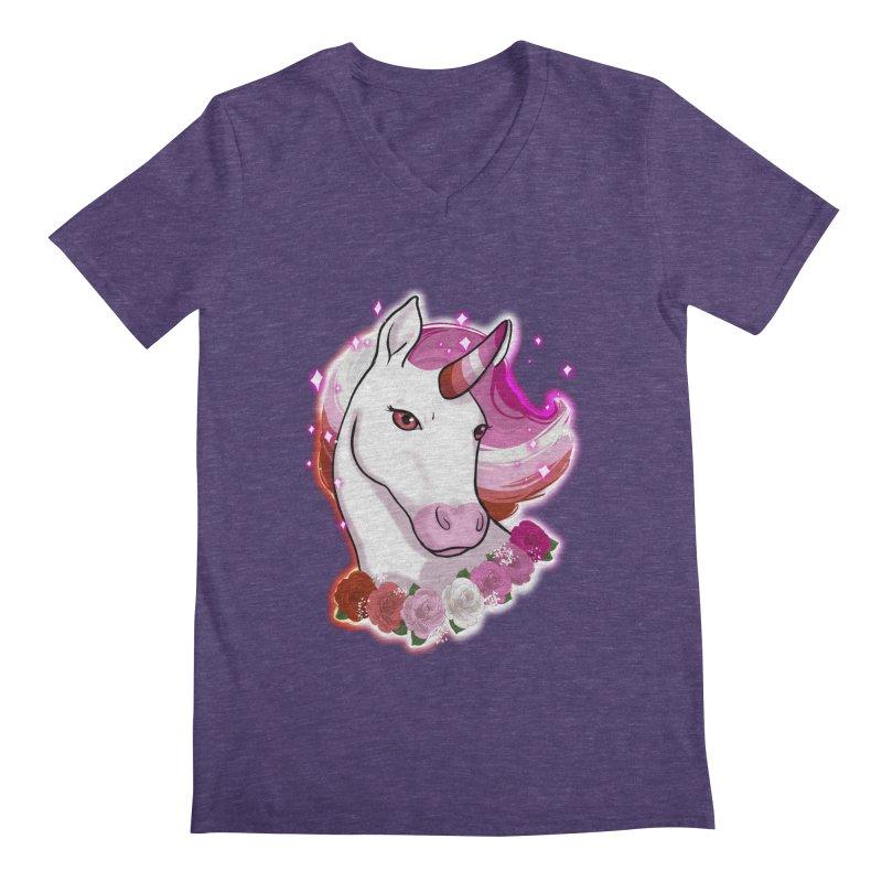 Lesbian pride unicorn Men's Regular V-Neck by Animegravy's Artist Shop