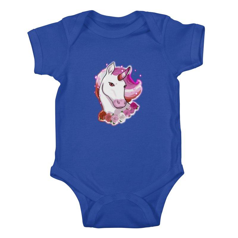 Lesbian pride unicorn Kids Baby Bodysuit by AnimeGravy