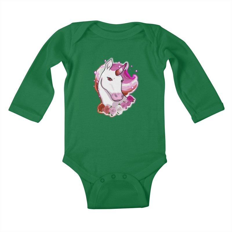 Lesbian pride unicorn Kids Baby Longsleeve Bodysuit by Animegravy's Artist Shop
