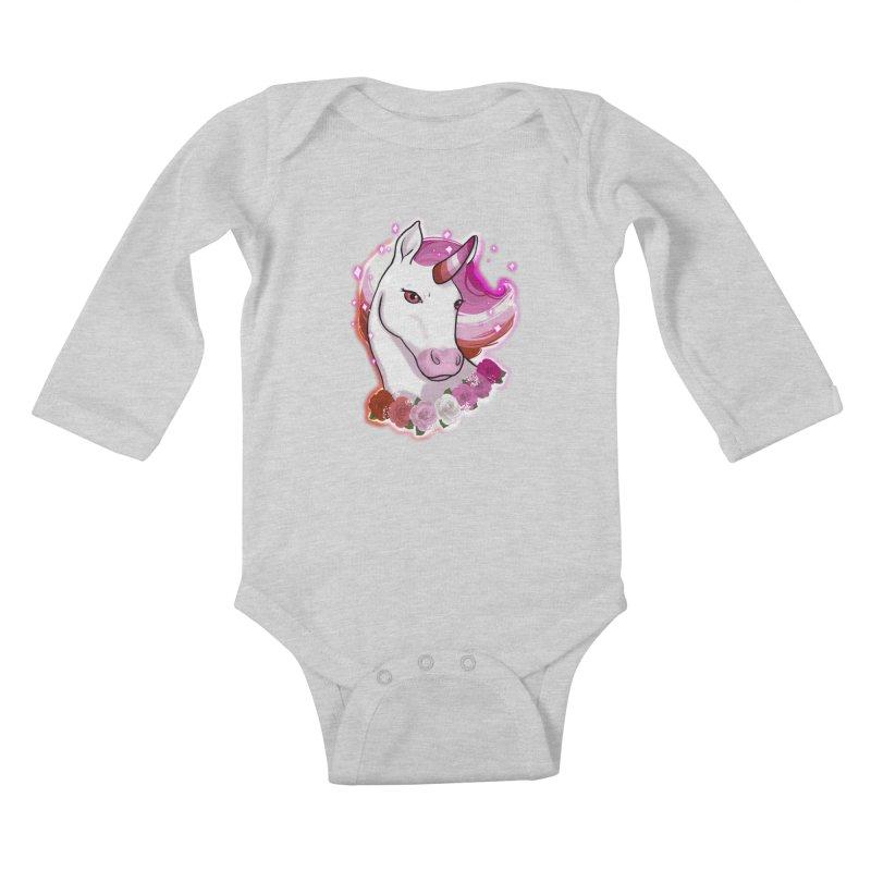 Lesbian pride unicorn Kids Baby Longsleeve Bodysuit by AnimeGravy