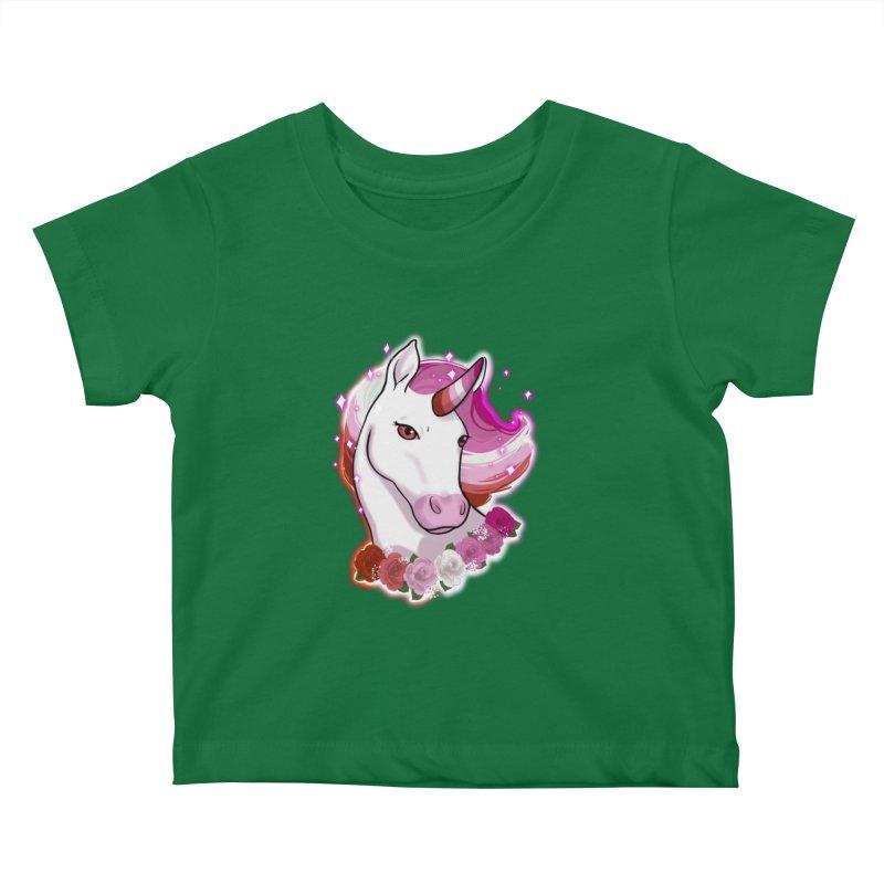 Lesbian pride unicorn Kids Baby T-Shirt by AnimeGravy