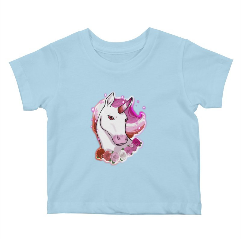 Lesbian pride unicorn Kids Baby T-Shirt by Animegravy's Artist Shop