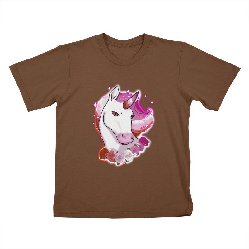Lesbian pride unicorn Kids T-Shirt by AnimeGravy