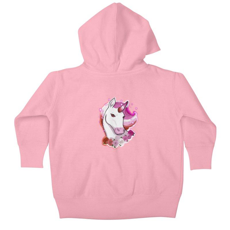 Lesbian pride unicorn Kids Baby Zip-Up Hoody by AnimeGravy