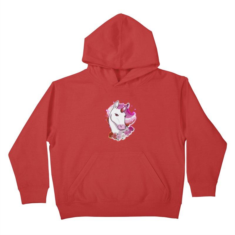 Lesbian pride unicorn Kids Pullover Hoody by AnimeGravy