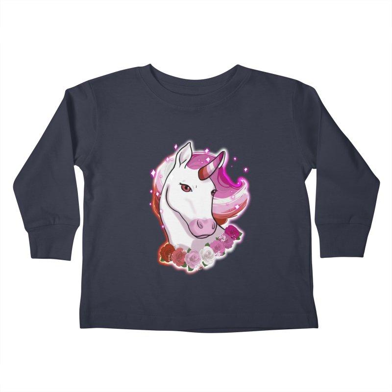 Lesbian pride unicorn Kids Toddler Longsleeve T-Shirt by AnimeGravy