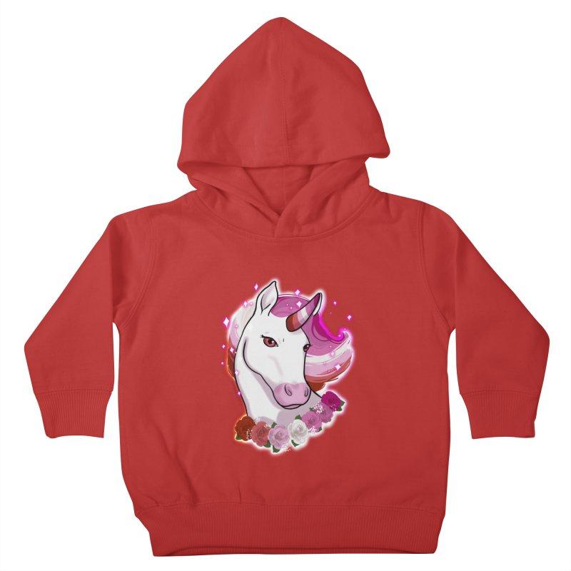 Lesbian pride unicorn Kids Toddler Pullover Hoody by Animegravy's Artist Shop