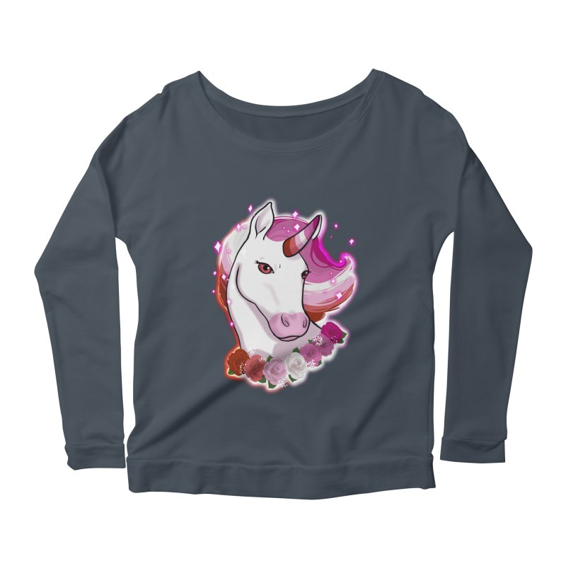 Lesbian pride unicorn Women's Scoop Neck Longsleeve T-Shirt by AnimeGravy