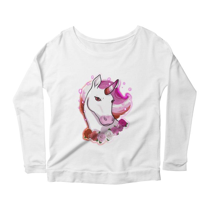 Lesbian pride unicorn Women's Scoop Neck Longsleeve T-Shirt by Animegravy's Artist Shop