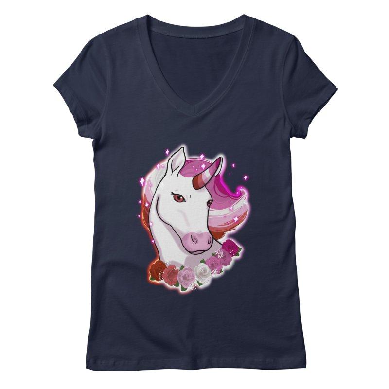 Lesbian pride unicorn Women's Regular V-Neck by AnimeGravy