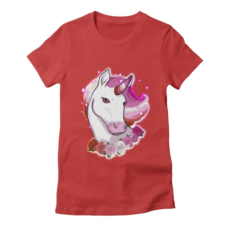 Lesbian pride unicorn Women's Fitted T-Shirt by AnimeGravy