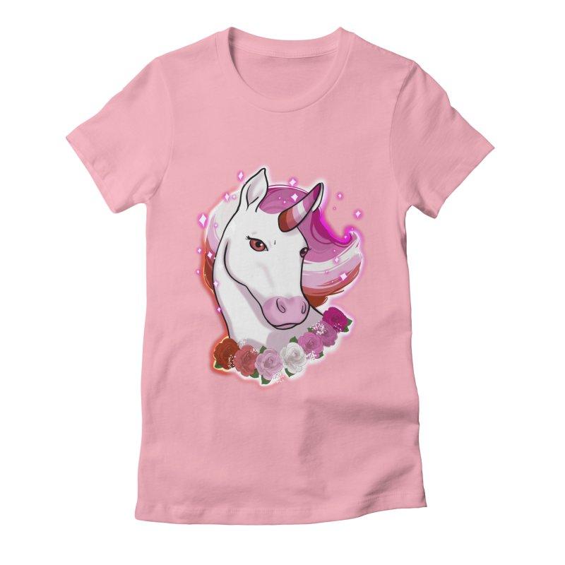 Lesbian pride unicorn Women's Fitted T-Shirt by Animegravy's Artist Shop
