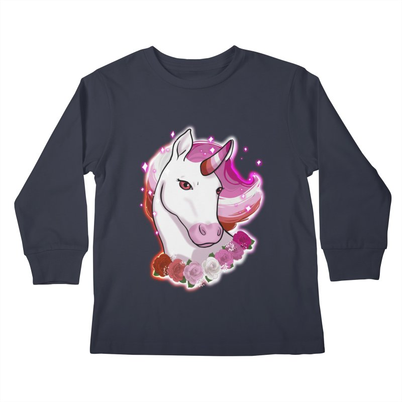 Lesbian pride unicorn Kids Longsleeve T-Shirt by AnimeGravy