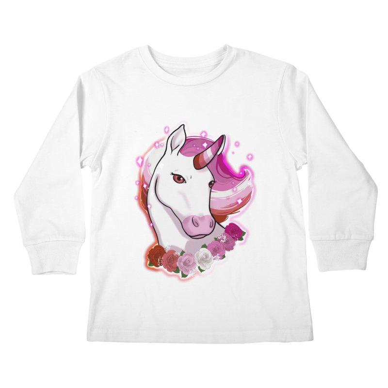 Lesbian pride unicorn Kids Longsleeve T-Shirt by AnimeGravy