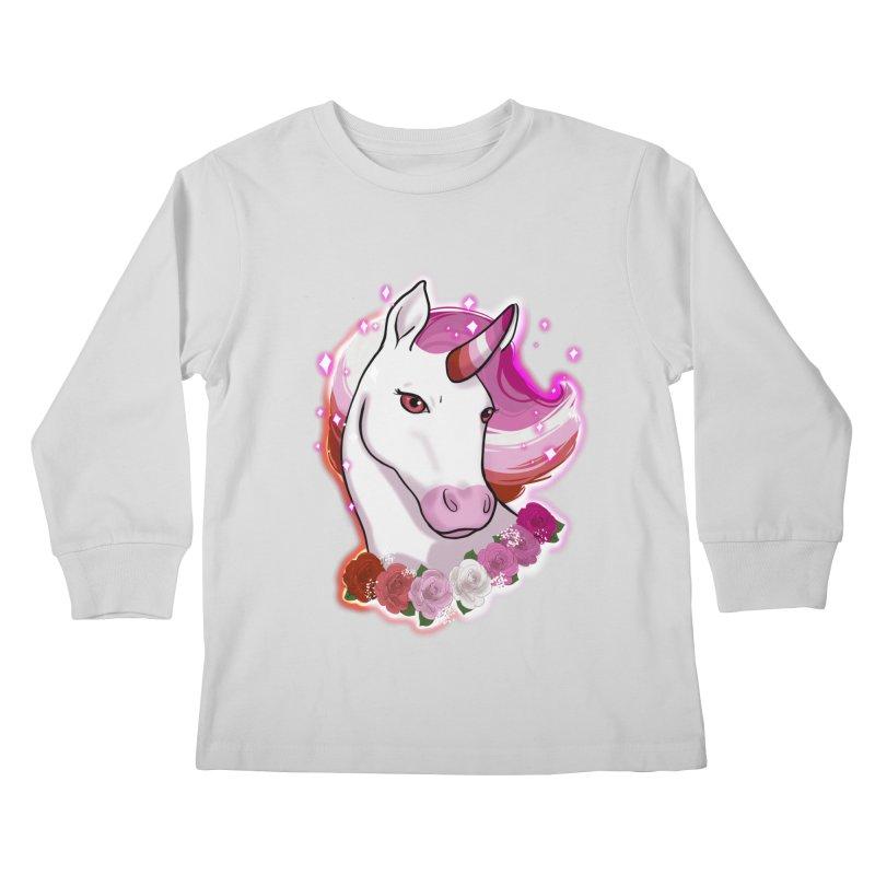 Lesbian pride unicorn Kids Longsleeve T-Shirt by Animegravy's Artist Shop