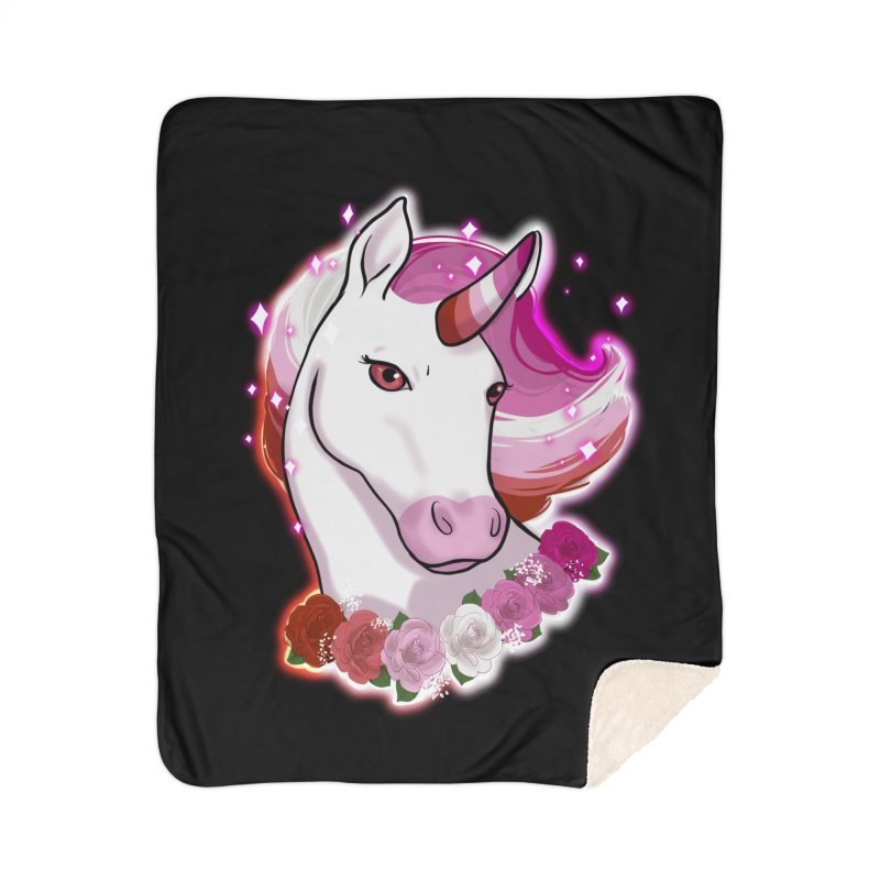 Lesbian pride unicorn Home Sherpa Blanket Blanket by AnimeGravy