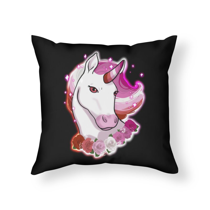 Lesbian pride unicorn Home Throw Pillow by Animegravy's Artist Shop