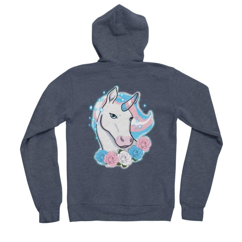 Trans pride unicorn Men's Sponge Fleece Zip-Up Hoody by Animegravy's Artist Shop