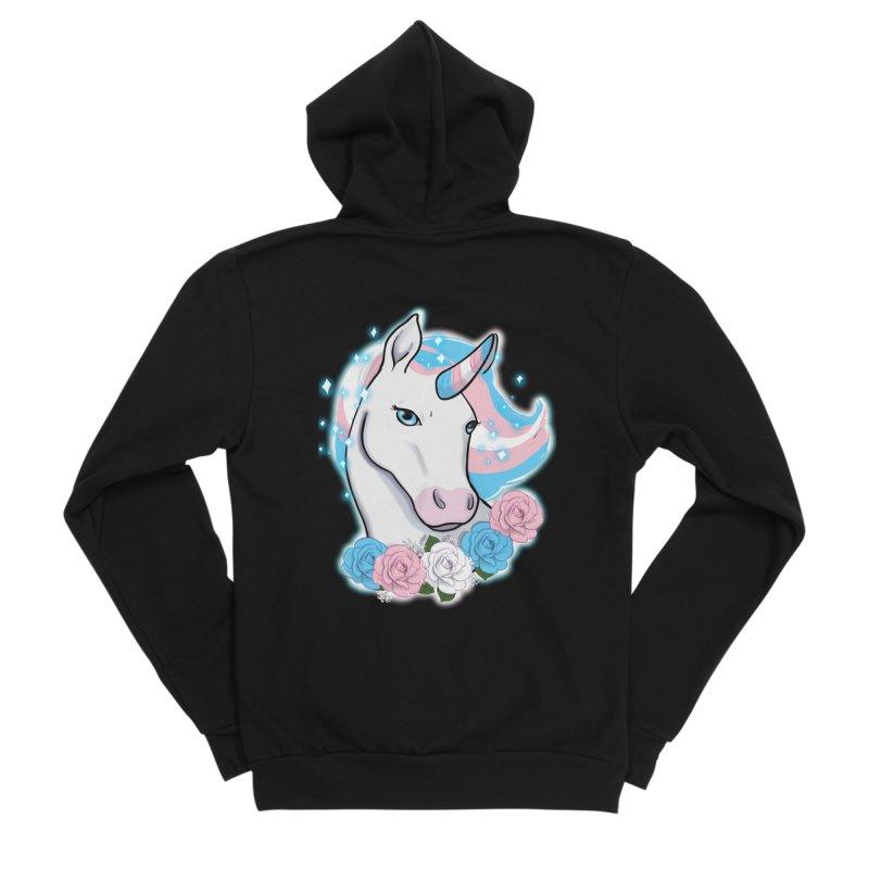 Trans pride unicorn Women's Sponge Fleece Zip-Up Hoody by AnimeGravy