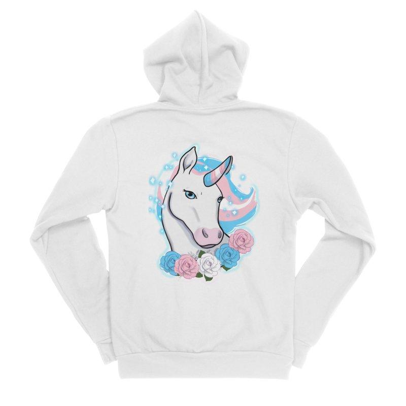 Trans pride unicorn Men's Sponge Fleece Zip-Up Hoody by AnimeGravy