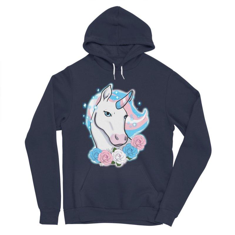 Trans pride unicorn Women's Sponge Fleece Pullover Hoody by AnimeGravy