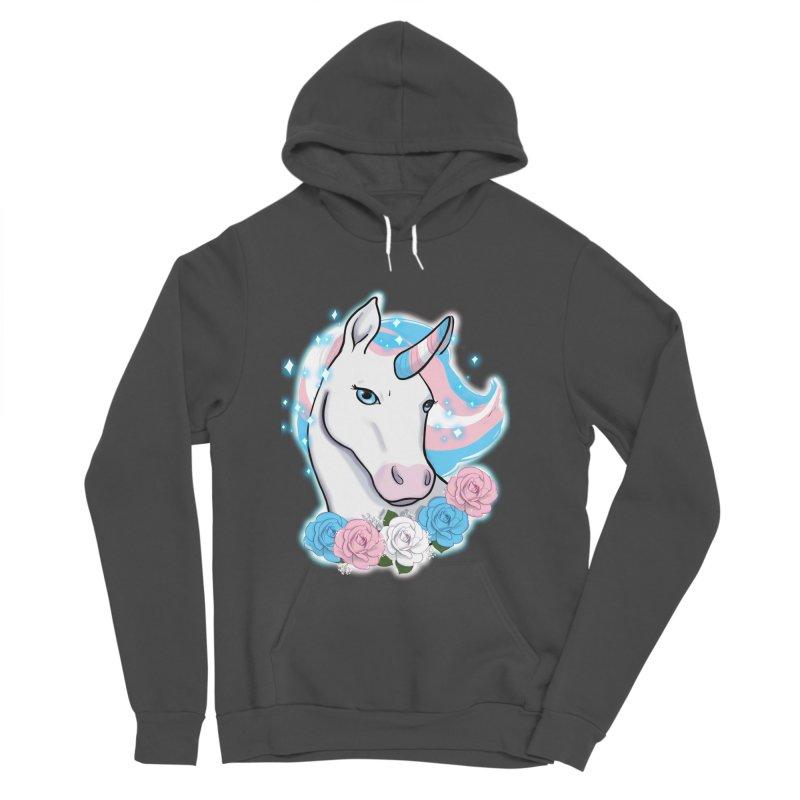 Trans pride unicorn Women's Sponge Fleece Pullover Hoody by Animegravy's Artist Shop