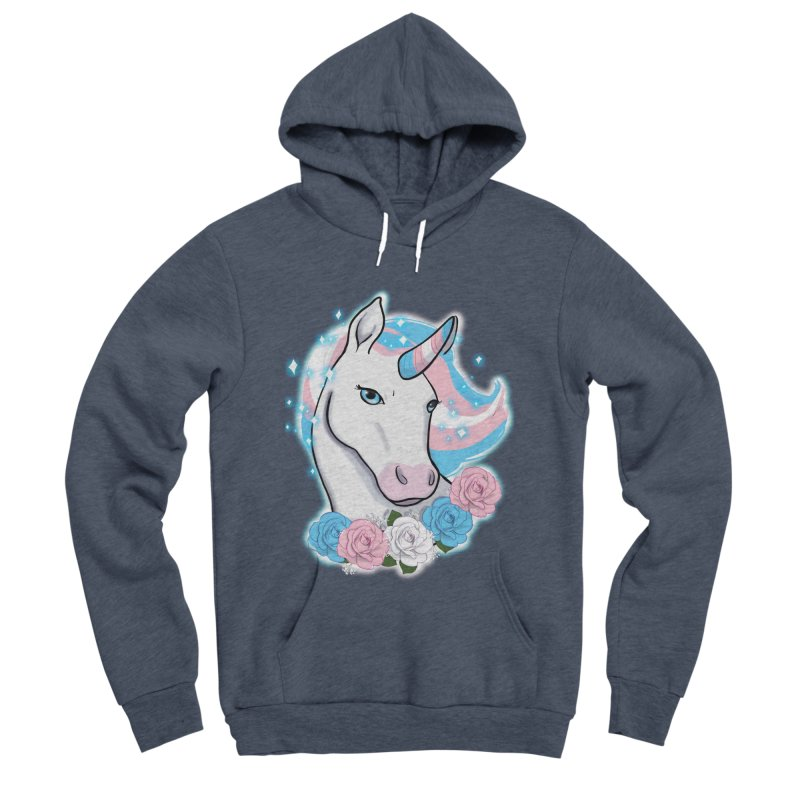 Trans pride unicorn Men's Sponge Fleece Pullover Hoody by AnimeGravy