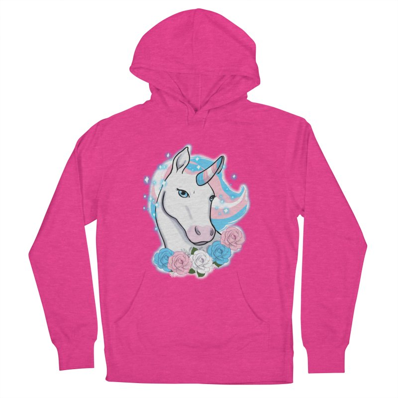 Trans pride unicorn Women's French Terry Pullover Hoody by Animegravy's Artist Shop