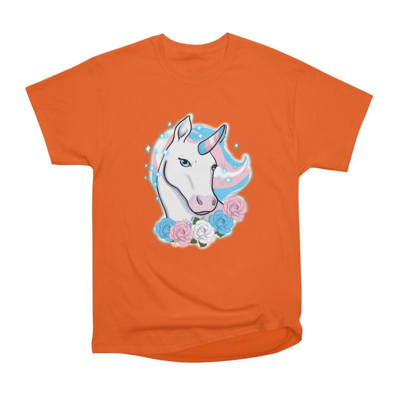 Trans pride unicorn Men's Heavyweight T-Shirt by Animegravy's Artist Shop
