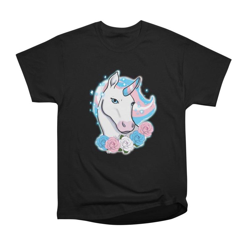 Trans pride unicorn Women's Heavyweight Unisex T-Shirt by AnimeGravy