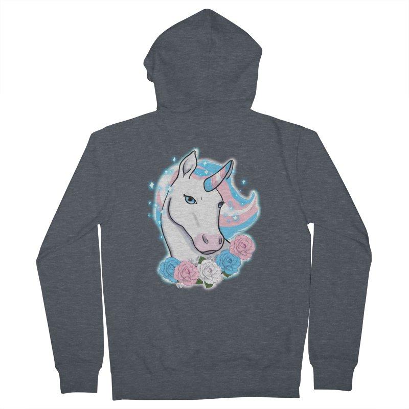 Trans pride unicorn Women's French Terry Zip-Up Hoody by Animegravy's Artist Shop