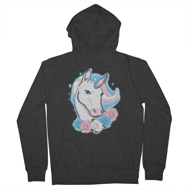 Trans pride unicorn Men's French Terry Zip-Up Hoody by AnimeGravy