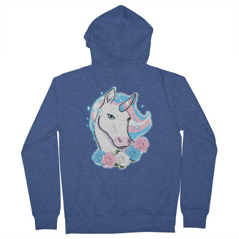 Trans pride unicorn Men's French Terry Zip-Up Hoody by Animegravy's Artist Shop