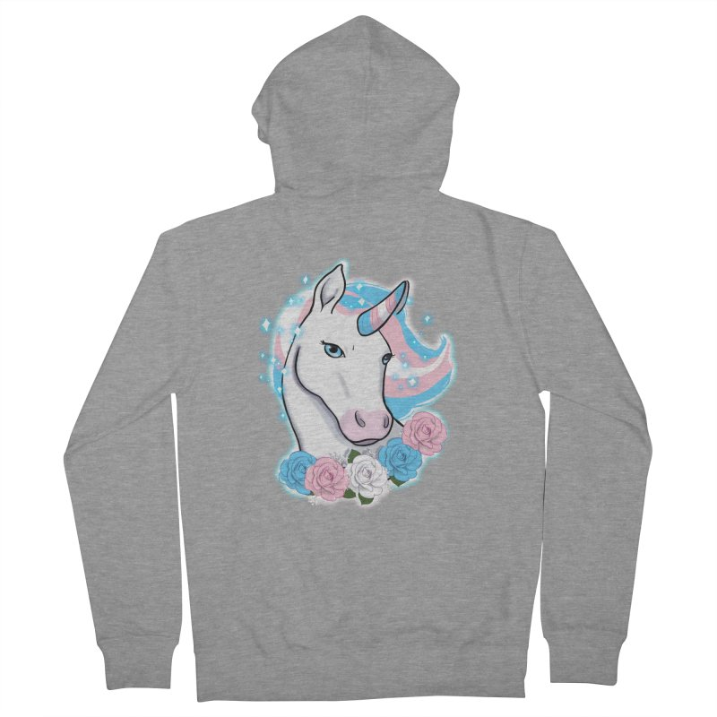 Trans pride unicorn Men's French Terry Zip-Up Hoody by Animegravy's Artist Shop