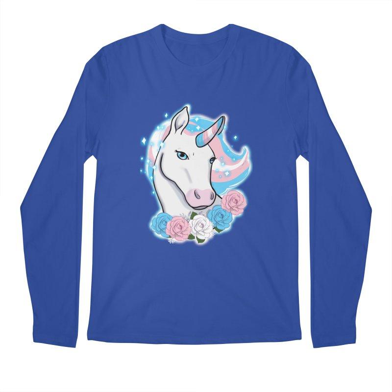 Trans pride unicorn Men's Regular Longsleeve T-Shirt by Animegravy's Artist Shop