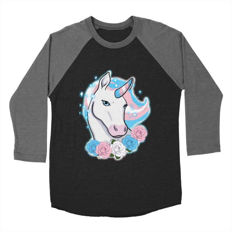 Trans pride unicorn Men's Baseball Triblend Longsleeve T-Shirt by Animegravy's Artist Shop